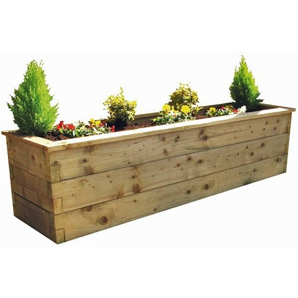 Rectangle Raised Flower Box Planter Bed 2 Tier Soil Pots: Zest 4 Leisure 1.8m Deep Wooden Sleeper Raised Bed Planter
