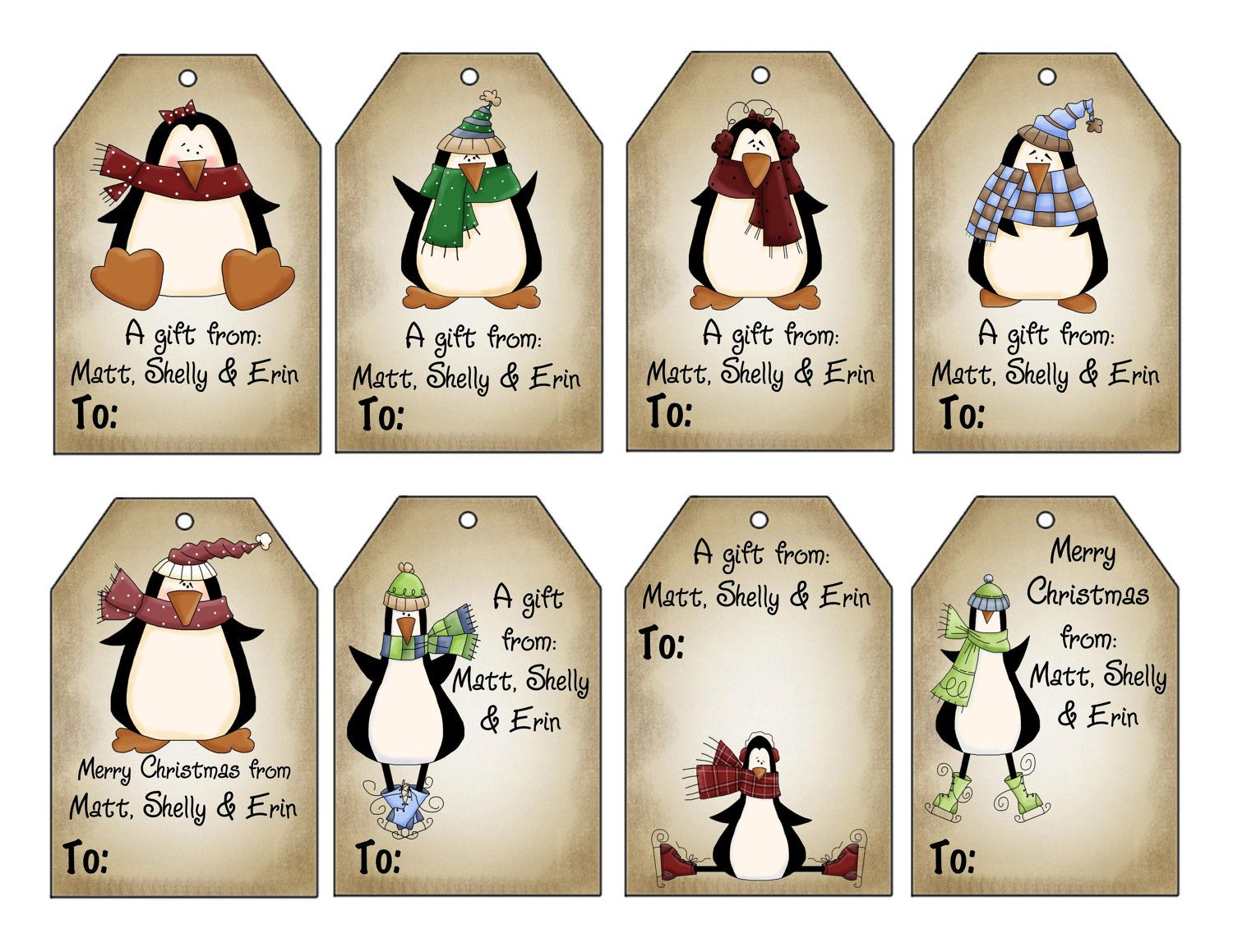 Tags google search tages bookmark pinterest bookmarks printable personalized winter penguins christmas gift tag set penguins personalized gift tags by swell printing negle Images