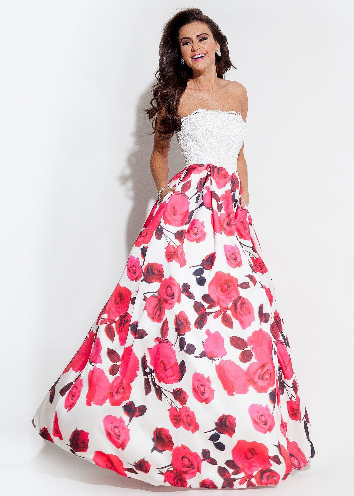 Rachel Allan 7111 White/Fuchsia Strapless Floral Printed Ball Gown ...