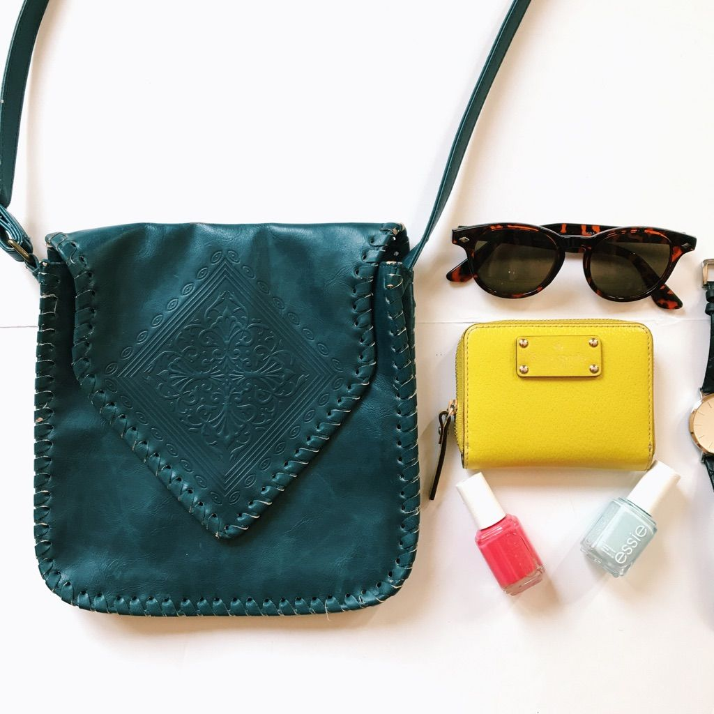 Vintage Teal Stitched Crossbody Purse