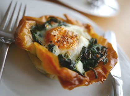 Egg and Spinach Filo Tarts