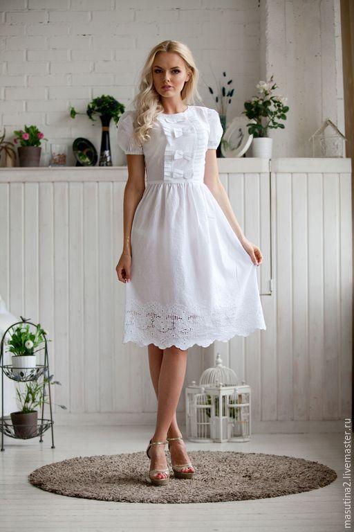 Платье из хлопка однотонное