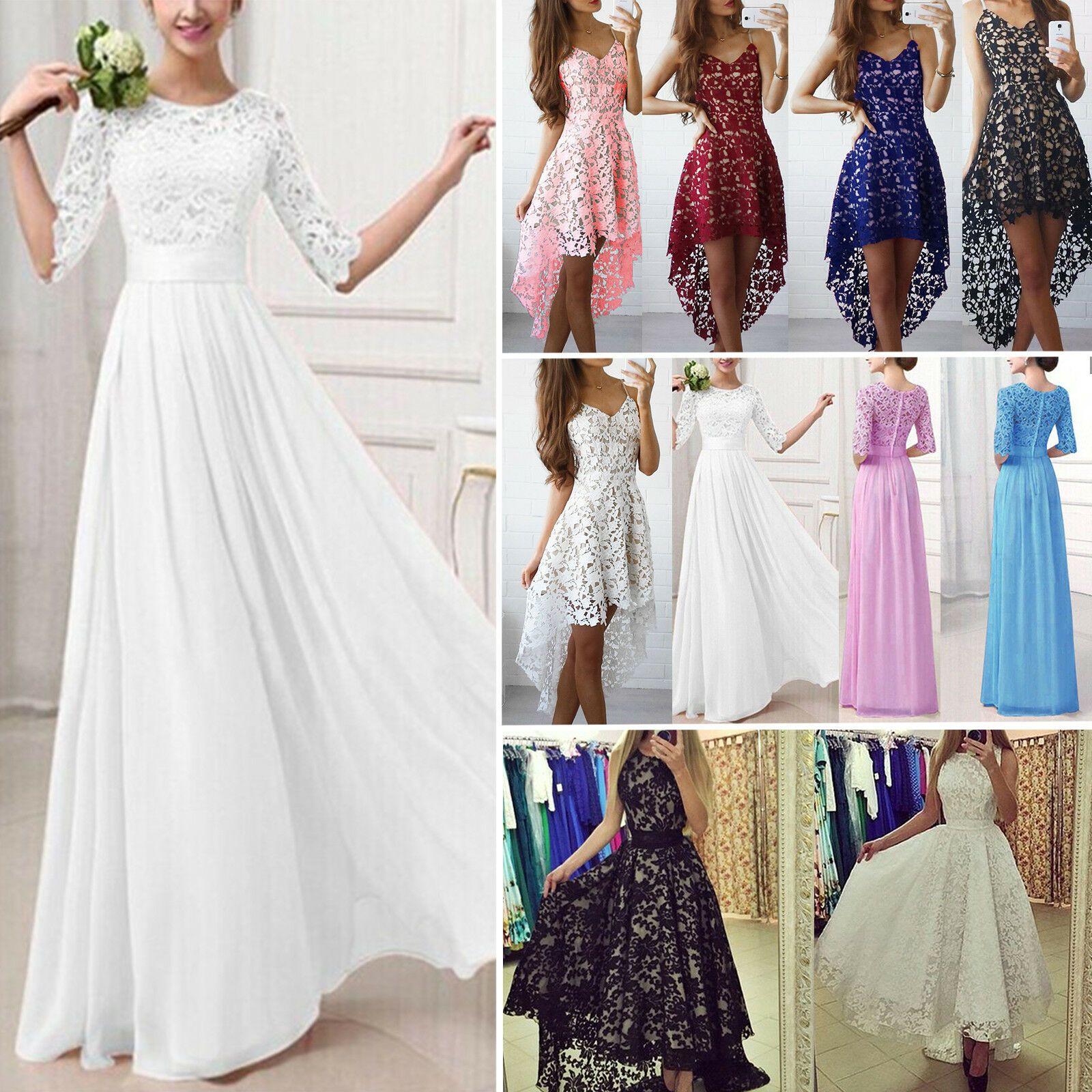 Damen Spitze Abendkleider Sommer Maxikleid Lang Party Hochzeit Kleid Ballkleider