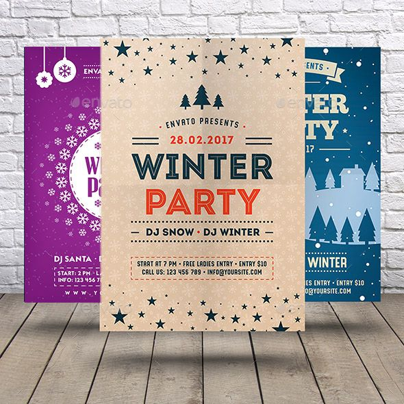 Winter Party Flyer Bundle Winter parties, Party flyer and Event flyers