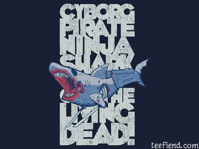 cyborg pirate ninja shark of the living dead by nikholmes http