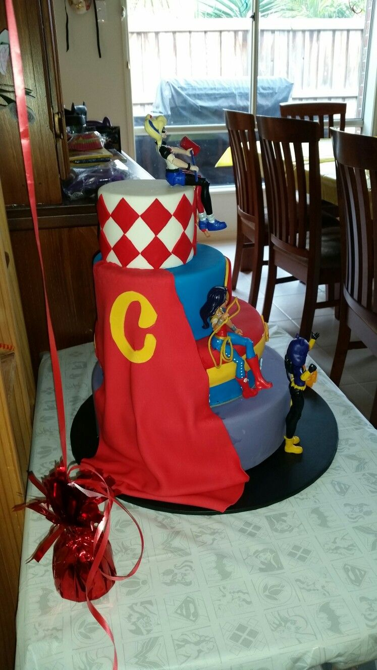 Superhero Dc comics girls Harley quinn Birthday cake Super Hero