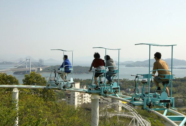 Pedal Powered Sky Cycle Roller Coaster Attract Visitors Roller - Pedal powered skycycle rollercoaster japan amazing