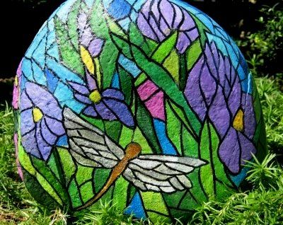 Stained Glass Dragonfly Rock