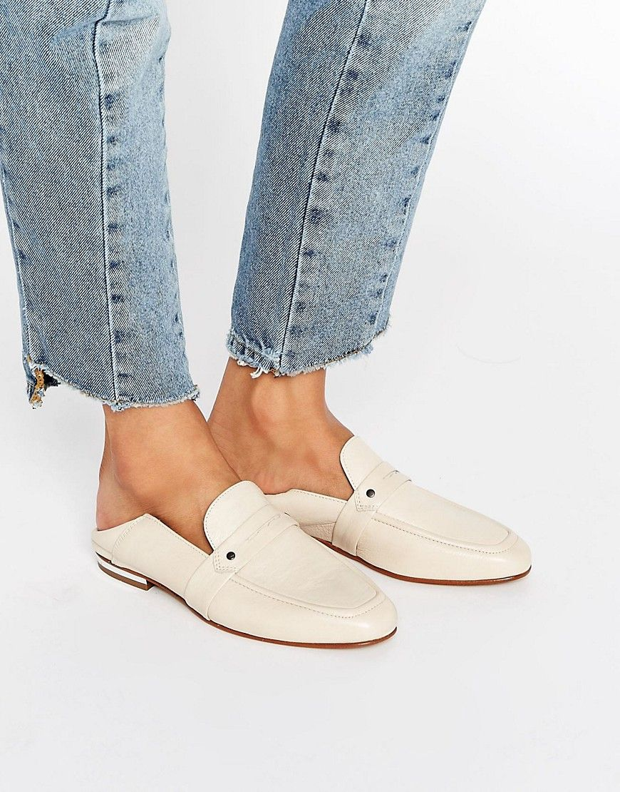 White Leather Flat Mules