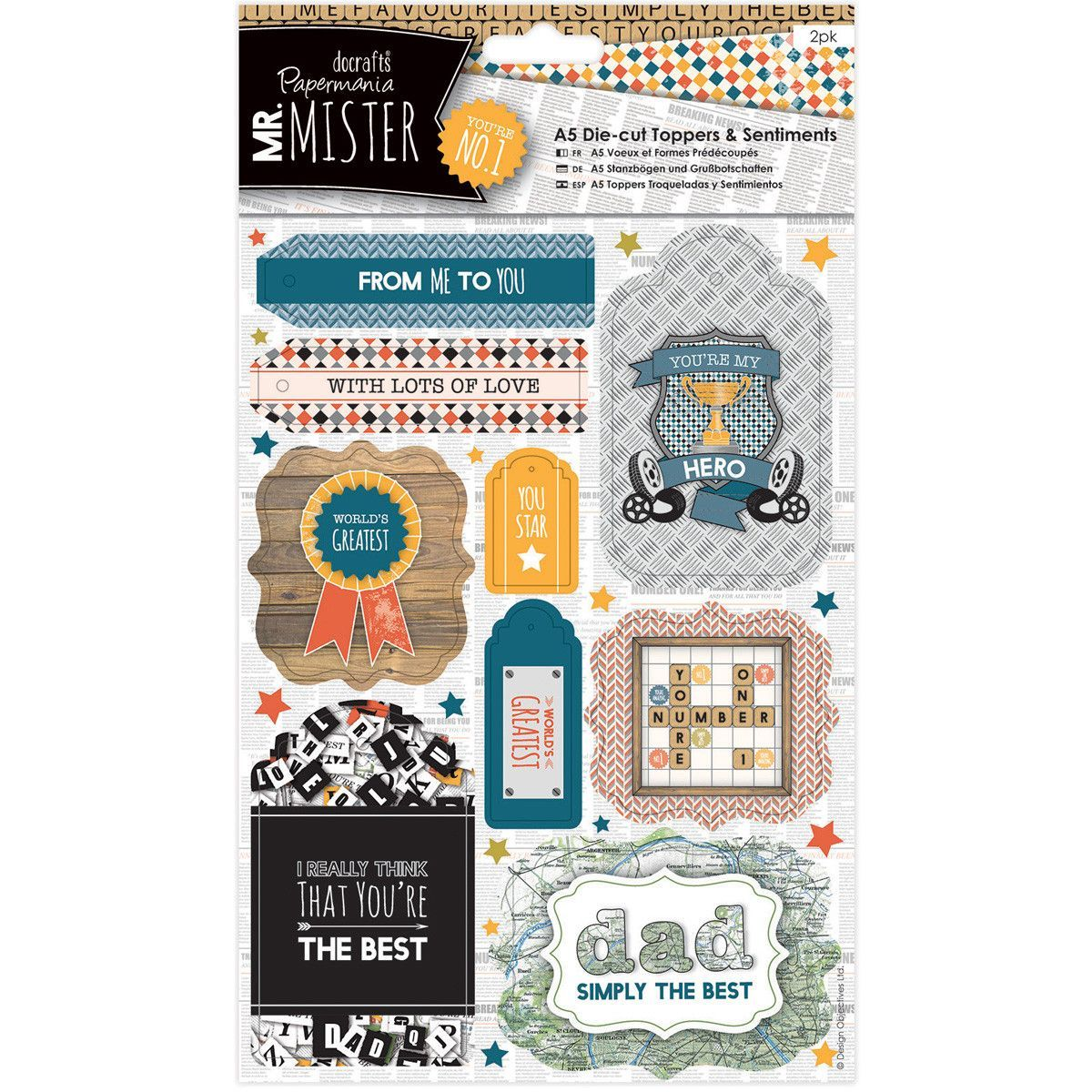 Papermania Mr. Mister A5 Die-Cut Toppers & Sentiments