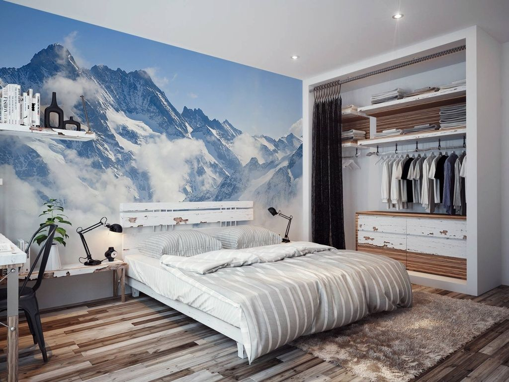 Contemporary Master Bedroom with interior wallpaper, The matterhorn ...