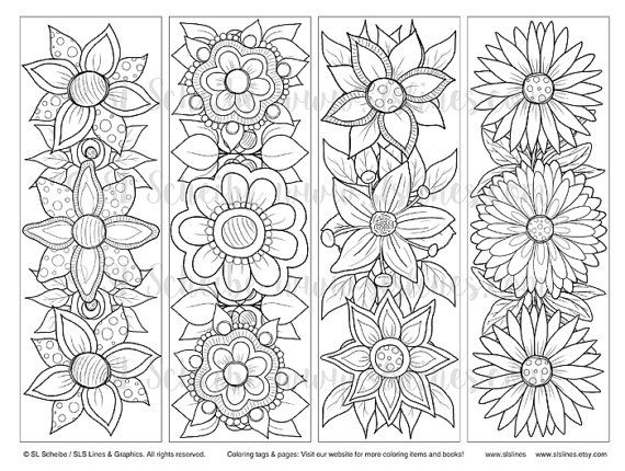 Printable Pdf Bookmark Coloring With Retro Pop Flower Design Etsy Coloring Bookmarks Coloring Bookmarks Free Hippie Flowers