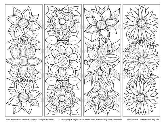 Printable Pdf Bookmark Coloring With Retro Pop Flower Design