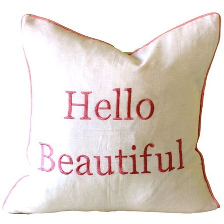 Hello Beautiful Pillow In Pink Hello Beautiful Pillows Smart