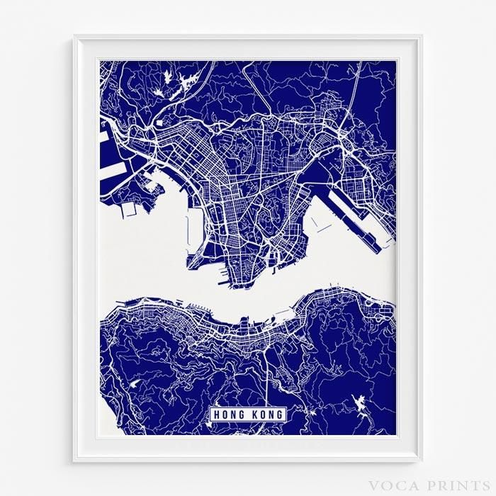Hong kong street map print map wall decor wall decor and modern gumiabroncs Image collections