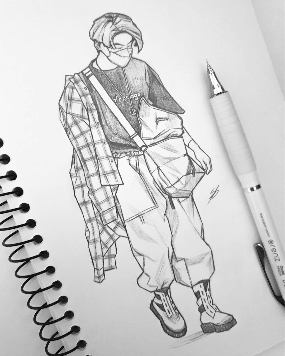 "Photo of • Nikki • on Instagram: ""200904 Jungkook isn't real, he can't hurt you. ⠀ 200904 Jungkook:  ⠀ #bts #btsfanart #fanart #Jungkook #art #drawing #sketch #kpop…"""