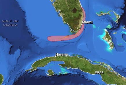 Florida location map showing the Keys Cuba and Bahamas Key West