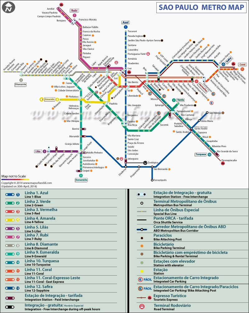 Sao Paulo Metro Map brazil land and people Pinterest Sao