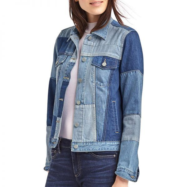 - This patchwork denim jacket offers a fun update on a trusty standby. Layer under an oversized coat for that fashion-editor effect.Gap Iconic Patchwork Denim Jacket, $98