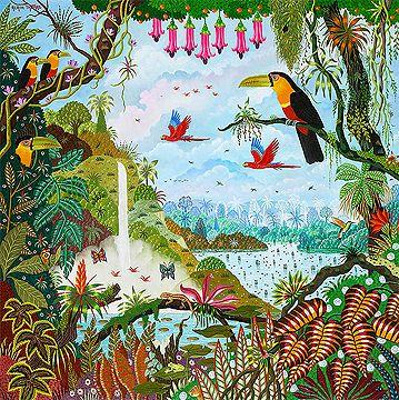toucans au jardin d 39 eden d 39 alain thomas art color pinterest tropical tropical graphisme. Black Bedroom Furniture Sets. Home Design Ideas