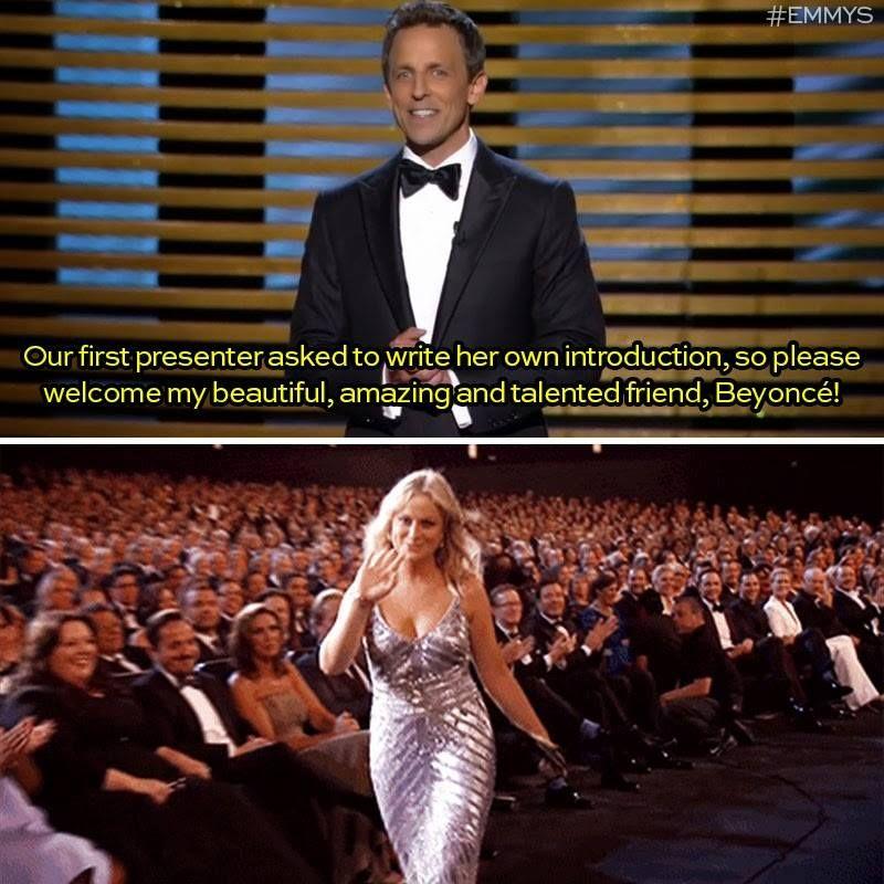 Seth Meyers 2014 Emmy Awards introduction Amy Poehler Beyonce!