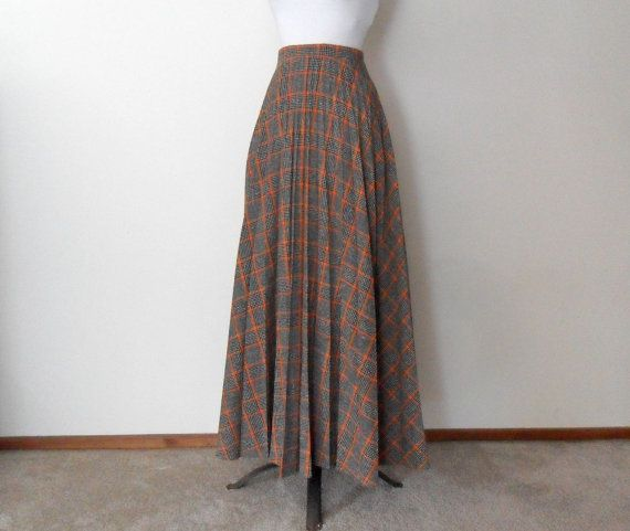 fbf1399fe 70s Plaid Maxi Skirt - Brown and Orange - Pleated Maxi Skirt - Long ...
