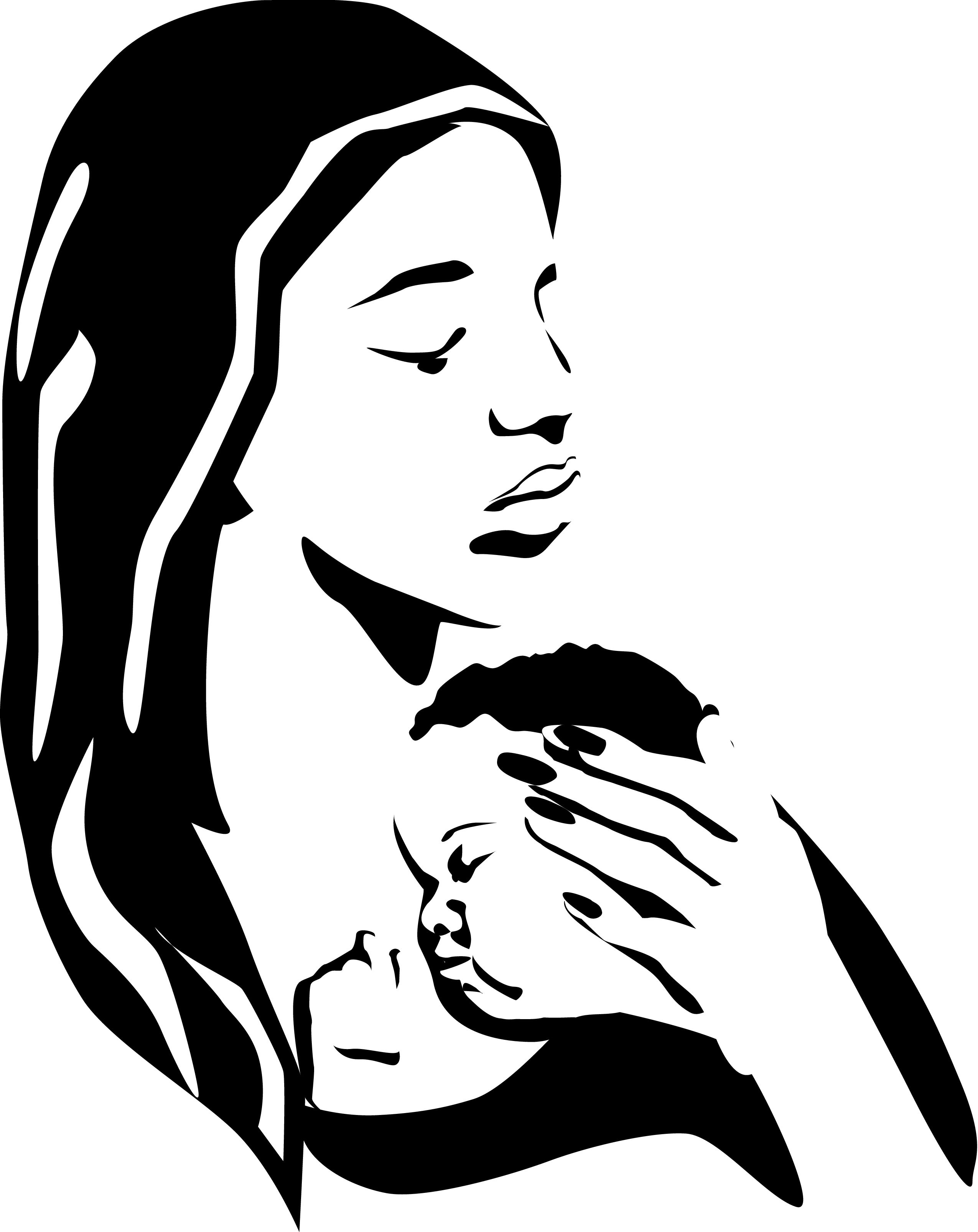 Mother Holding Sleeping Baby Bw Clipart Art 3 Images