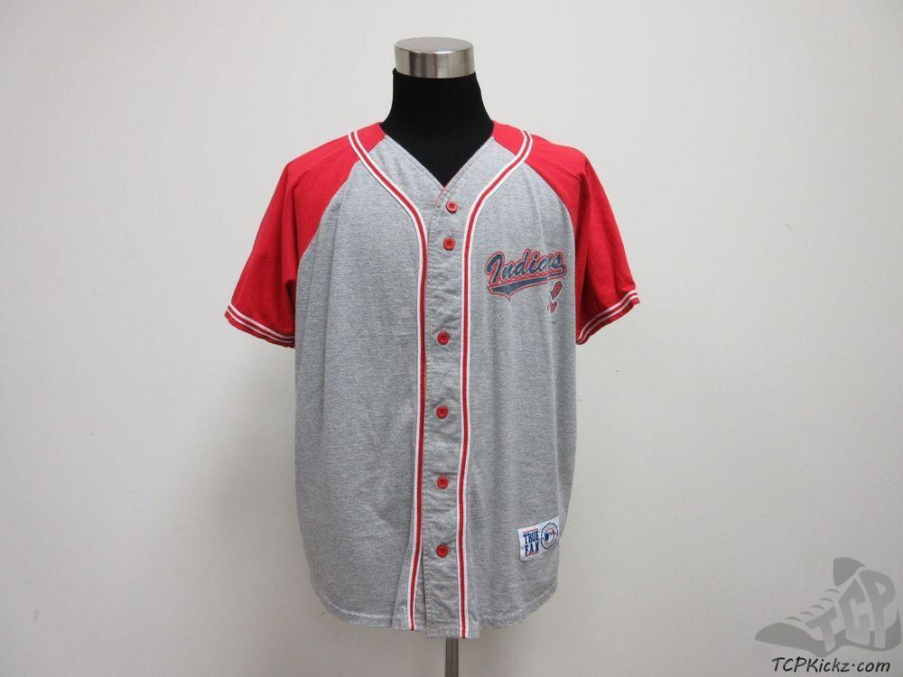 True Fan Cleveland Indians Button Up Soft Baseball Jersey sz XL Extra Large MLB #TrueFan #ClevelandIndians #tcpkickz