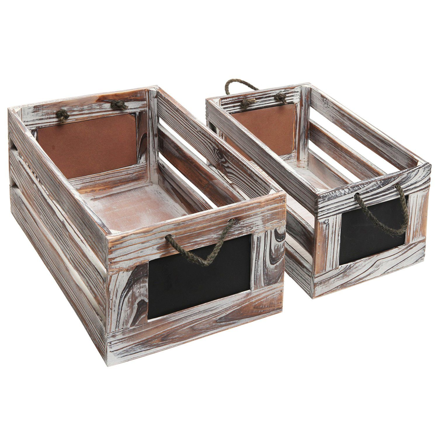 Amazon Com Distressed Torched Wood Finish Nesting Boxes Rustic Storage Crates With Chalkboard Labels S Wooden Crates Wholesale Wooden Crates Crate Storage