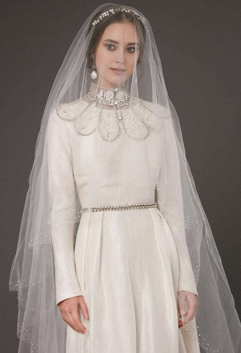 e7d11de921 VAZILIKI / long sleeve ivory wedding dress a line wedding gown cover up  honorable with glitter ivory