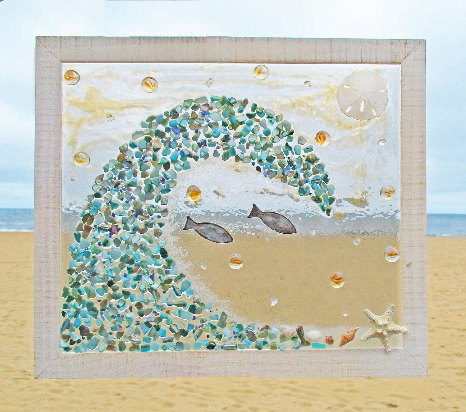 Unique beach window art by luminosities sunny beach scene with an unique beach window art by luminosities sunny beach scene with an abalone shell wave and voltagebd Images