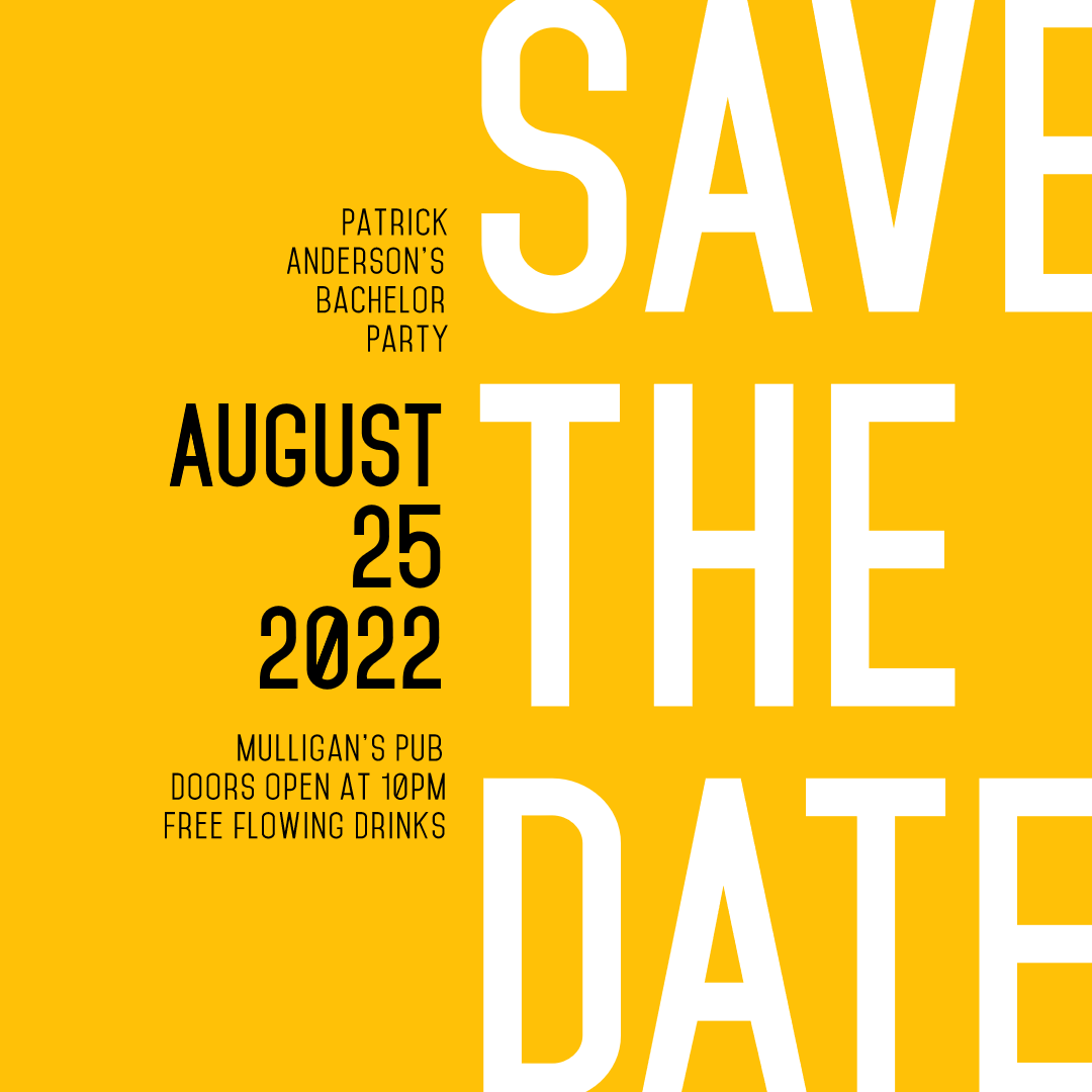 Save The Date Editable #Invitation Layout With #Yellow