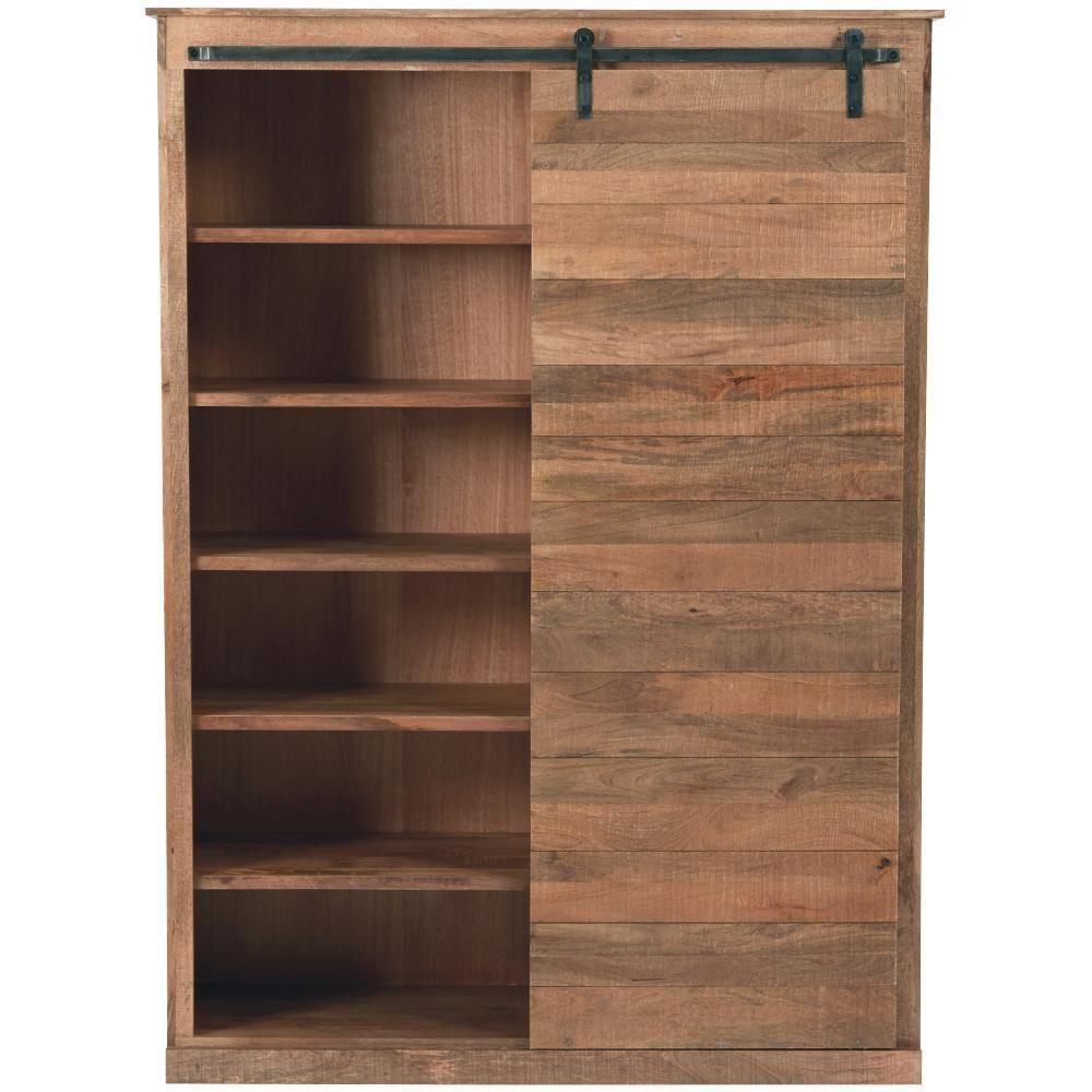 Home Decorators Collection Holden Natural Solid Door Bookcase Afflink Wooden Storage Shelves Sliding Door Bookcase Wood Bookcase