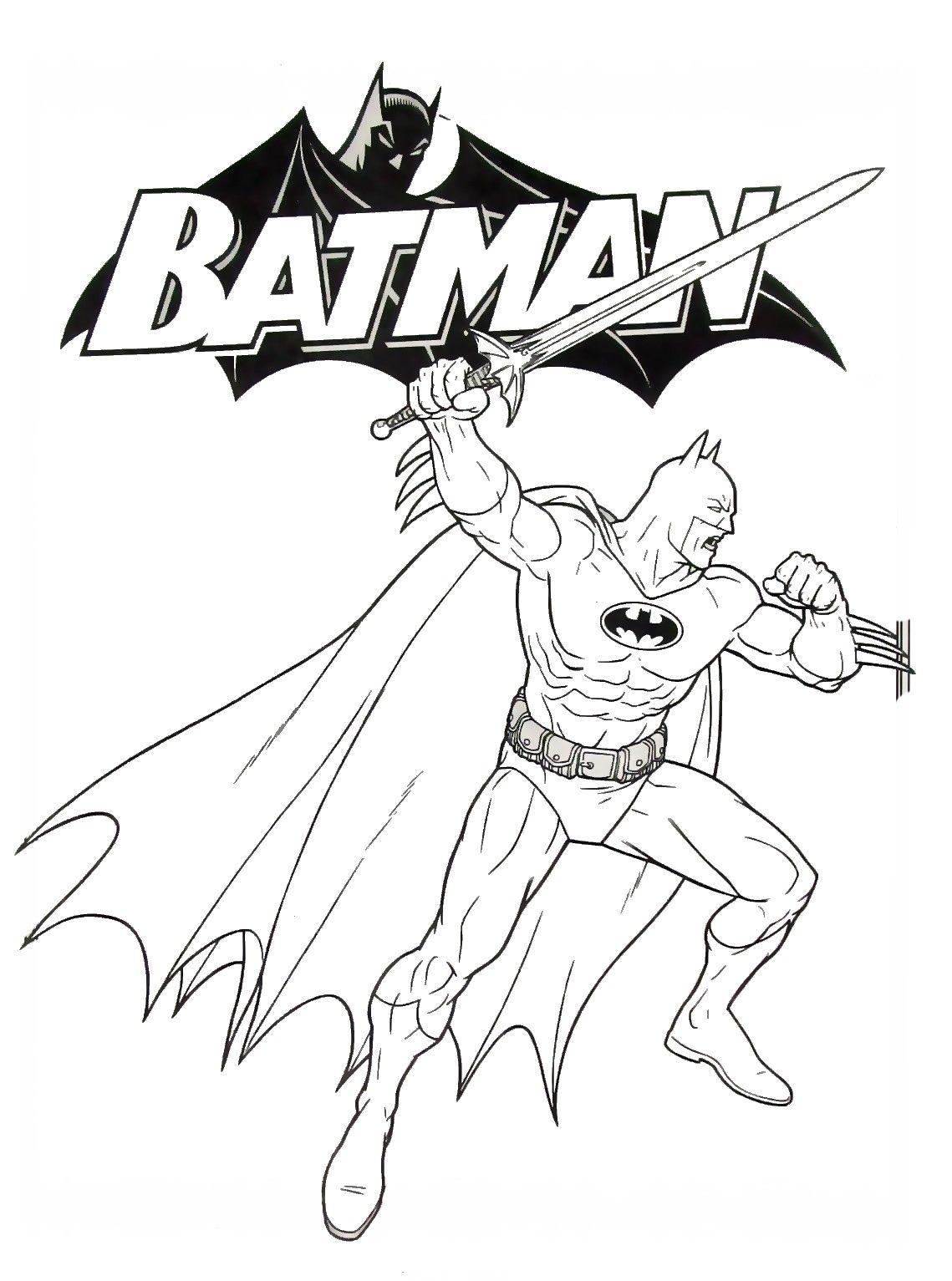 batman with sword coloring book page printable batman coloring