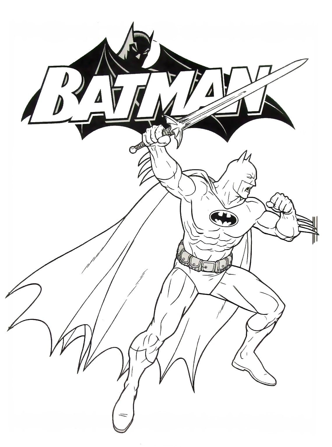Batman With Sword Coloring Book Page Printable Coloring Book