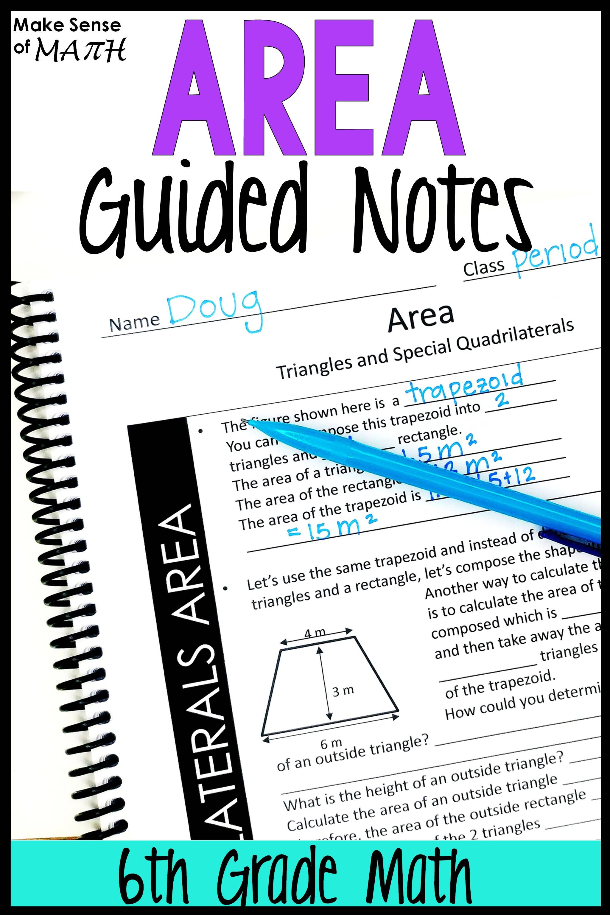 Area Triangles And Quadrilaterals Guided Notes