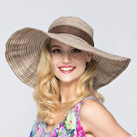 Ribbon bow wide brim straw hat for women UV striped sun hats beach wear a500056ac83