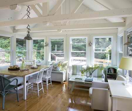 Open Concept Country Interior Deaivn White Cottage