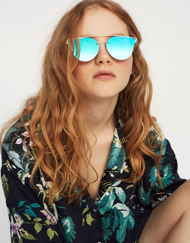 Pull Bear - mujer - accesorios - últimas novedades - gafas espejo verde  tipo aviador - verde - 05897323-I2017 079ec457c7e4