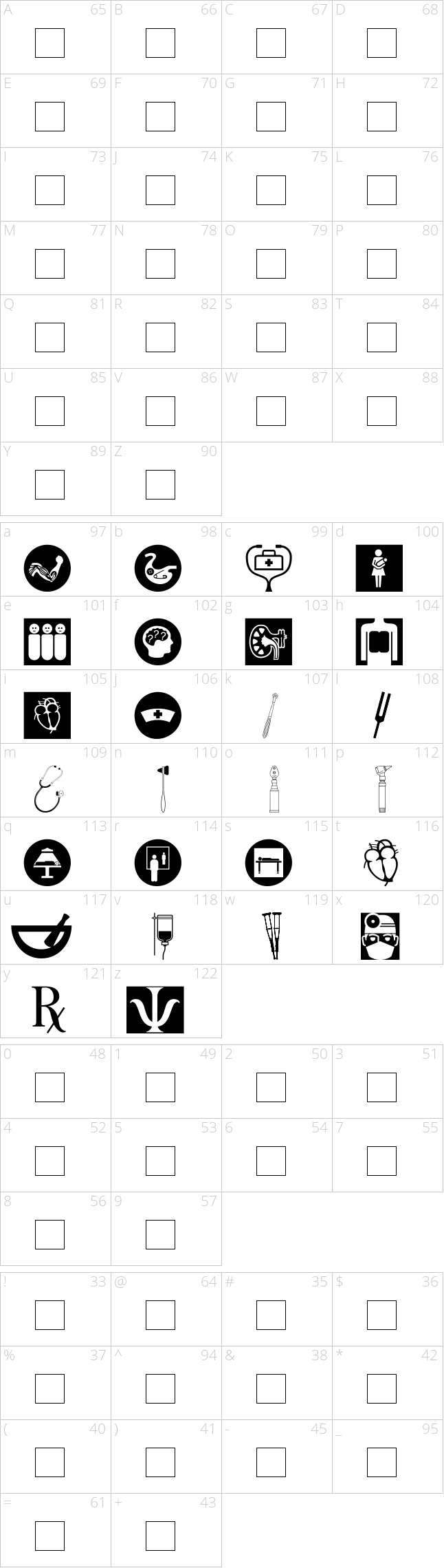 Character map for the font healthcare symbols dailyfont character map for the font healthcare symbols biocorpaavc