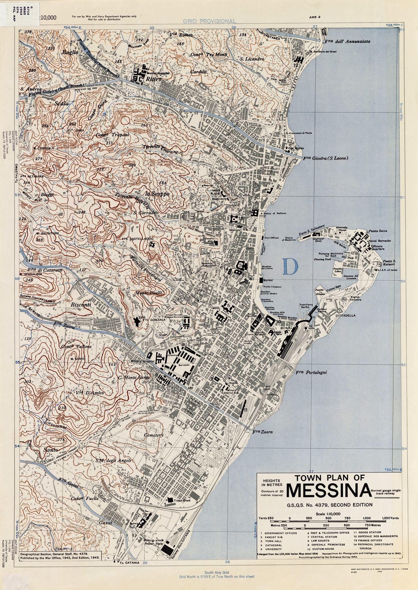 Cartina Di Malta Da Stampare.Mappa Di Messina Nel 1943 Messina Mappa Immagini D Epoca