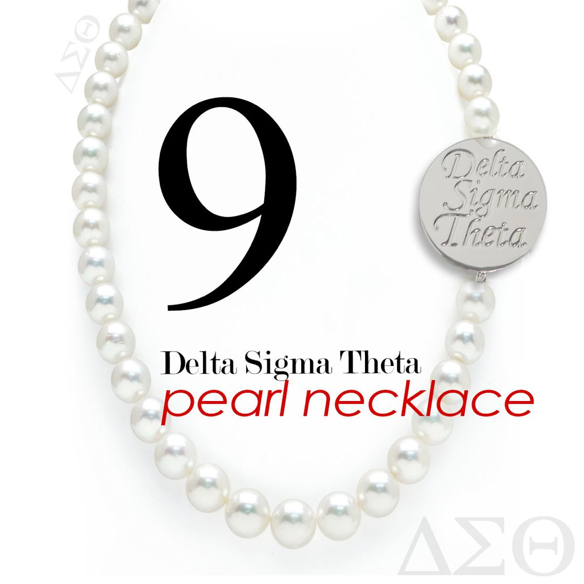 Pearls white shell pearl necklace with double sided silver plated white shell pearl necklace with double sided silver plated delta sigma theta script rotate for delta sigma theta greek symbols biocorpaavc Image collections