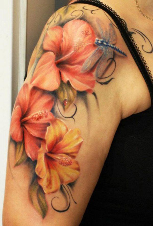 Realistic Hibiscus Flowers With Dragonfly Tattoo On Right Half