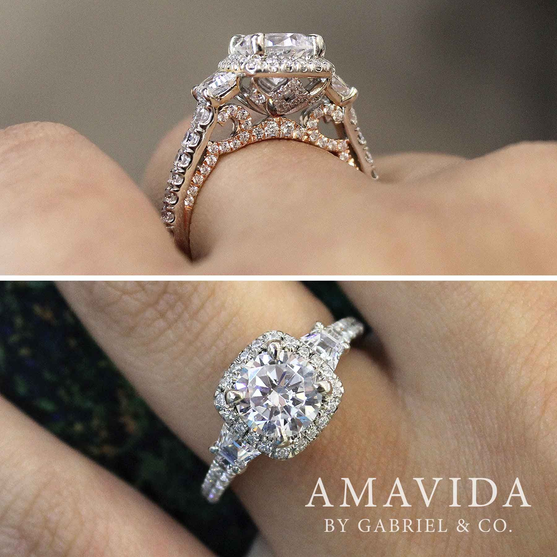 18k White Rose Gold Cushion Three Stone Halo Round Diamond Engagement Ring Er12872r6t83jj Wedding Rings Unique Wedding Rings Engagement Expensive Engagement Rings