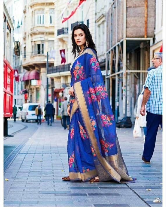 Photo of Pure Taspa linen saree, partywear saree, wedding saree, saree blouse, blue saree, bridal saree, ethnic ware, kaadhya silk, sari