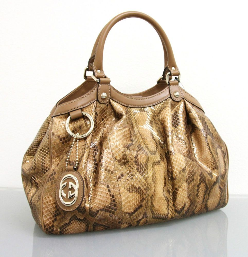 b456ce1b45c4 $2500 NEW Authentic GUCCI Sukey Python Tote BAG HANDBAG Gold/Brown Medium  211944 #Gucci #TotesShoppers