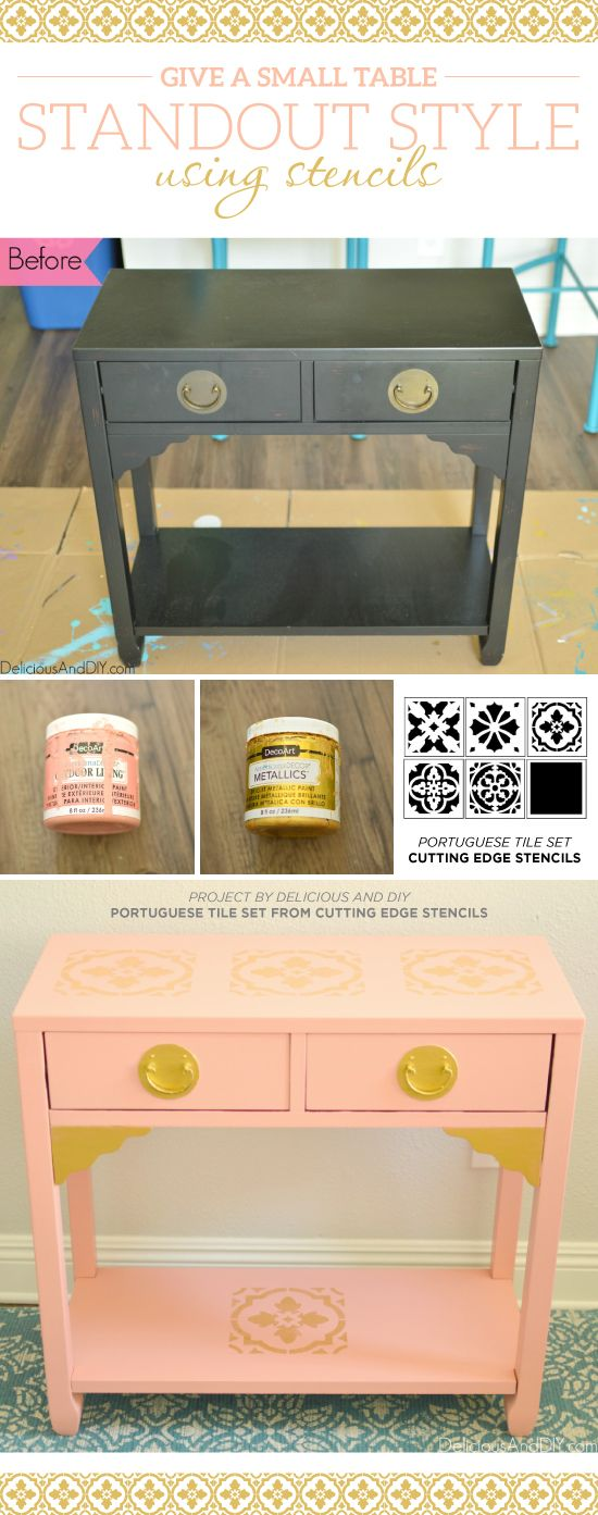 Stencils Give A Small Table Standout Style Patchwork