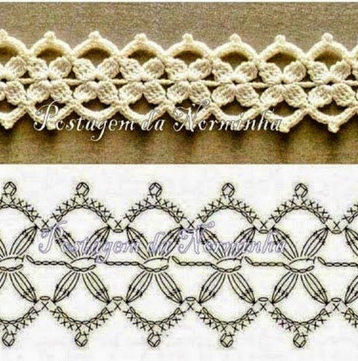 Patrones de puntillas para tejer con ganchillo | bordures ...