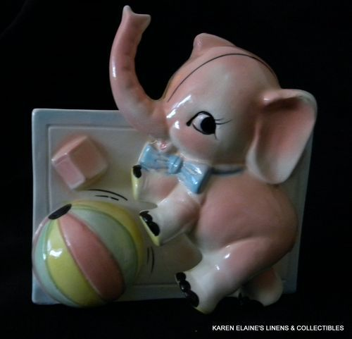 Ceramic Baby Planter Pink Elephant with Ball Made in Japan Vintage 1950s