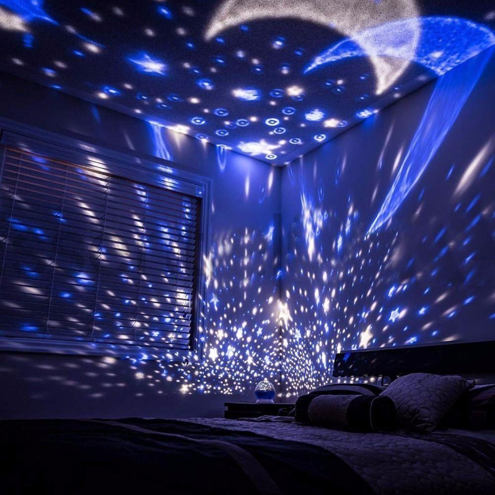 Rotating Night Light Projector Spin Starry Sky Star Master Children Kids Baby Sleep Romantic Led Usb Lamp Projection Usb Battery Lampu Malam Galaksi Lampu